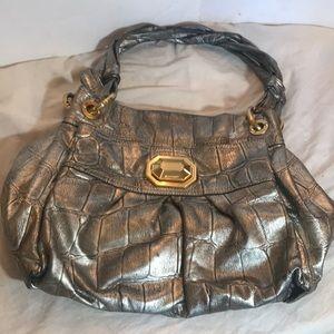 """B MAKOWSKY"" Pebbled Silver /Grey Leather Bag."